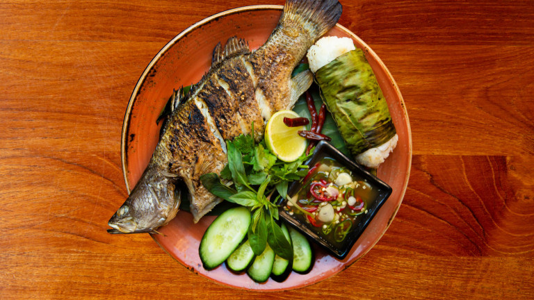 Whole baby snapper, coconut rice , cucumber, chili galic namprik - C48A7329